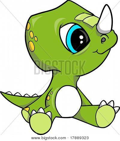 Baby Triceratops Dinosaur Vector Illustration