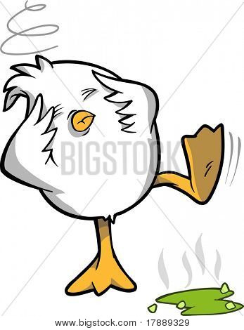 Hungover Chicken Vector Illustration