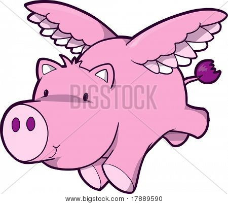 Fling Pig Vector Illustration