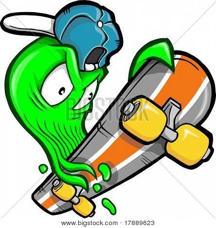 Skateboarding Booger Vector Illustration
