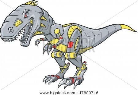 Mechanical Dinosaur Vector Illustration