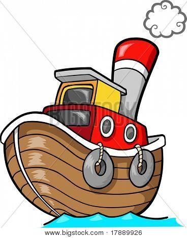 Tug Boat Vector Illustration