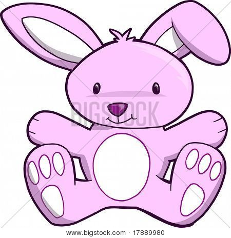 Pink Bunny Vector Illustration