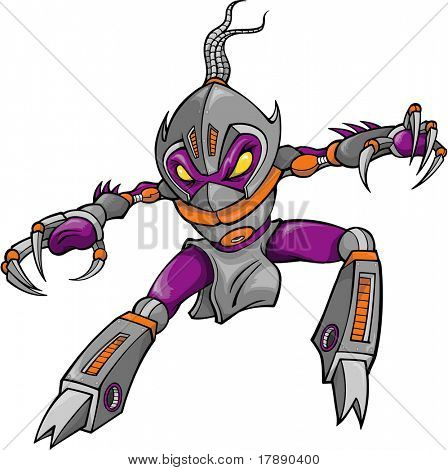 Ninja Cyborg Robotic Warrior Vector Illustration