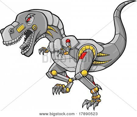 Robot Dinosaur Vector Illustration
