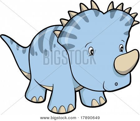 Triceratops Dinosaur Vector Illustration