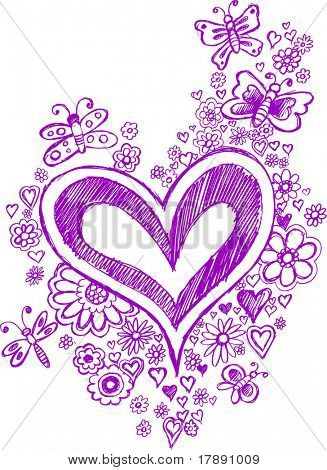 Purple Sketchy Hearts and Flowers Vector Illustration