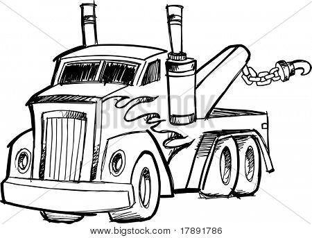 Vector ilustración de un camión de remolque incompletos