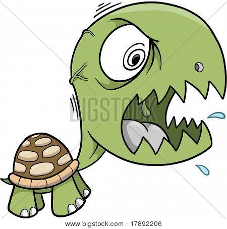 Crazy Insane Turtle Vector Illustration
