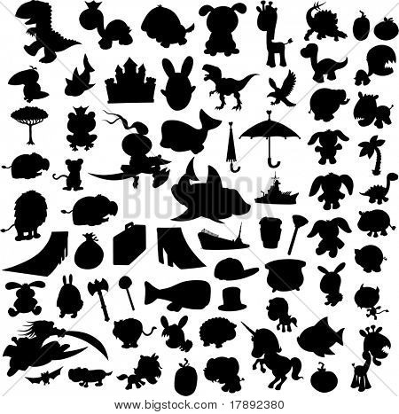 Silouettes Set Vector Illustration