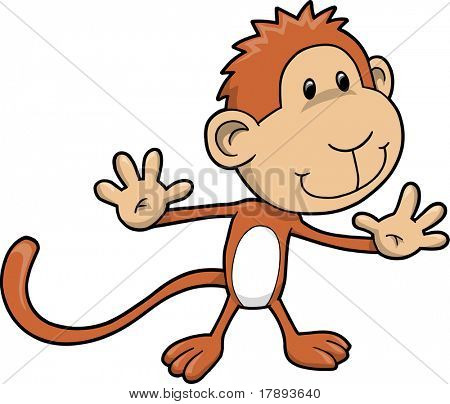 Cute Safari Monkey Vector Illustration