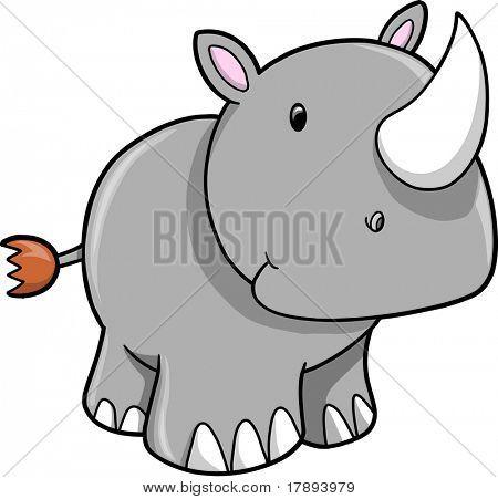 Cute Safari Rhino Vector Illustration