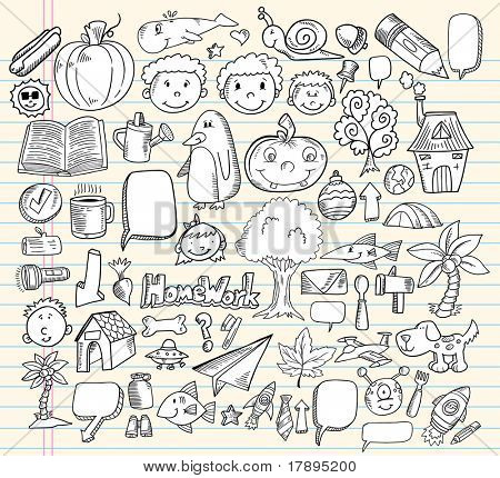 Notebook doodle Rede Blase Design Elemente Mega Vektor-Illustration-set
