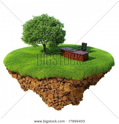 Lawn with tree, office table and chair on the little fine island / planet. A piece of land in the air. Detailed ground in the base. Concept of success in business, innovation, refresh.