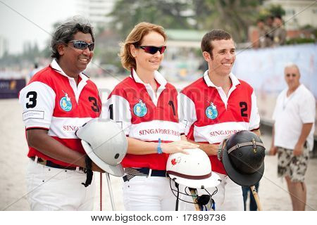 HUA HIN - APRIL 9: From left to right - M. Cereceda, C. Zeisberger, P. Abisheganaden. Asian Beach Polo Championship B Grimm  Princess Pa's Cup on Hua Hin beach. April 9, 2011 in Hua Hin, Thailand.