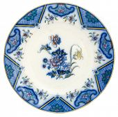 An early 19th century flow blue plate - genuine antiques series