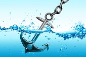 stock photo of anchor  - illustration of metallic anchor sinking in water waves - JPG