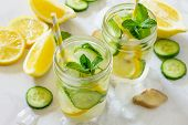 Water Sassi. Refreshing Summer Drink With Lemon, Ginger, Fresh Cucumber And Mint. The Concept Of Hea poster