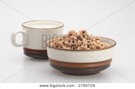 Cup Of Milk And Cereal