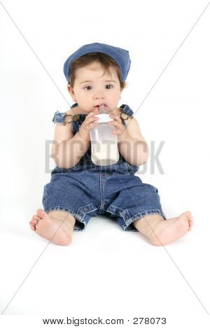 Baby With A Milk Bottle