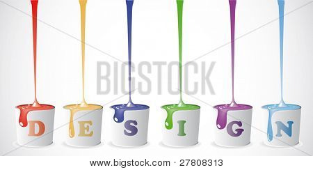 Buckets with a paint. Background