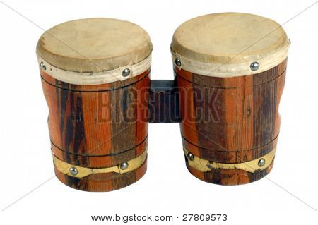 Bongo drums, isolated over white