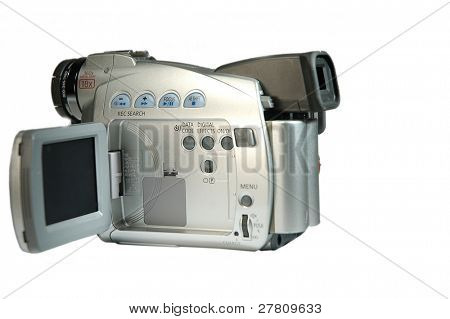 Digital video camera, isolated over white