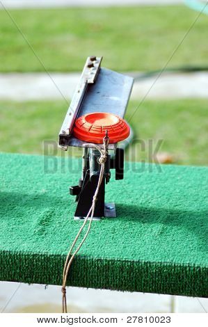 clay pigeon ready for launch