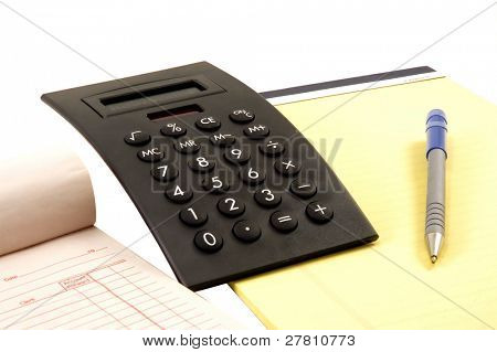 Calculator, legal pad and receipt book
