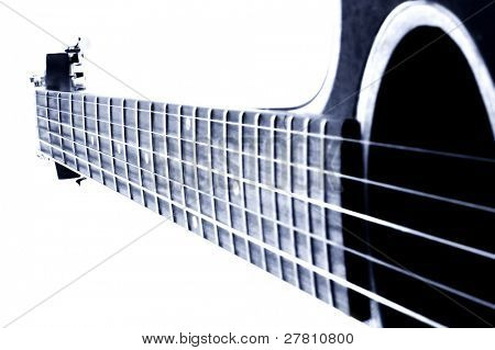acoustic guitar  Shallow depth of field  image digitally filtered to carry a blue tone