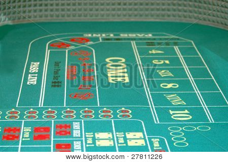 Shallow DOF view of a  Las Vegas Craps table for use as a background