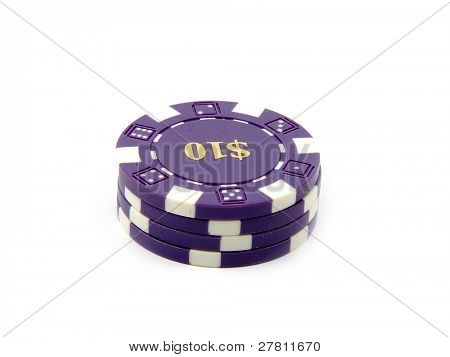 Stack of $10.00 casino chips