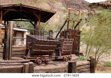 Silver mine and ore cars circa 1890's in the Silver boomtown of Calico California