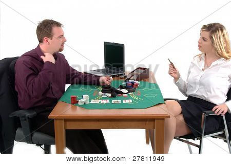 Office workers playing a friendly game of Strip Texas Holum Poker in the office. Isolated over white