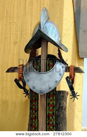 Iron helmet and collar from the renaissance