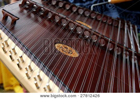 Close up detail of a Hammered Dulcimer at the Renaissance Fair. Shallow DOF