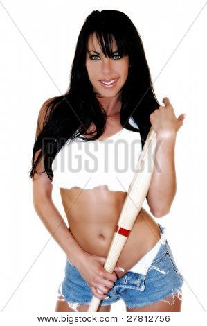 "Sexy woman dressed to play baseball and asking if you ""Got Wood"""