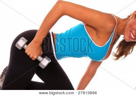 Sexy latina fitness instructor working out with free weights