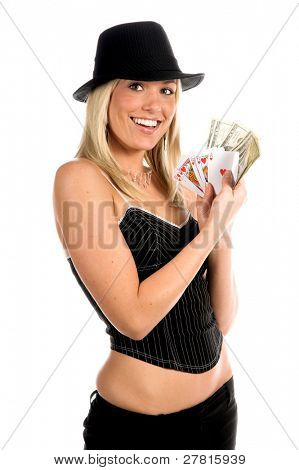 Beautiful and sexy young blonde gangster girl in a pinstripe hat and corset top with a Hearts Royal Flush