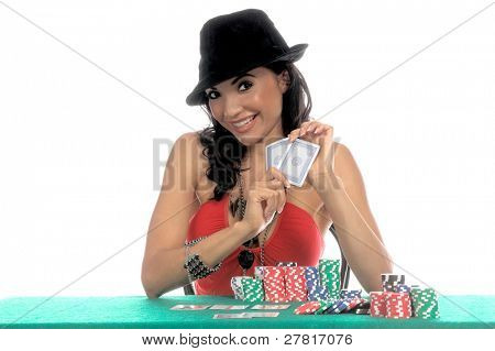Sexy woman in a sexy low cut red blouse and  black fedora hat playing Texas Hold 'um poker Generic no label card backs from China