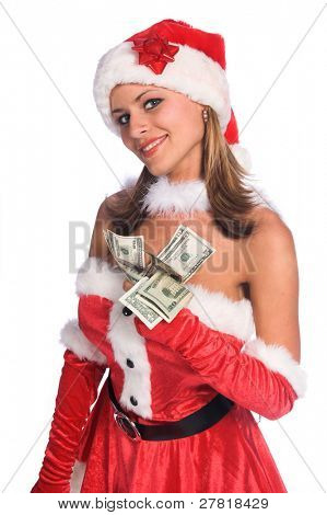 Sexy Ms. Santa Claus isolated over white holding a fist full of Holiday cash