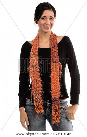 beautiful young Mexican woman in jeans and a black shirt and an orange couture feather wool scarf