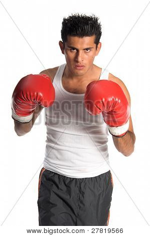 Young undiscovered boxer posed in a fighting stance