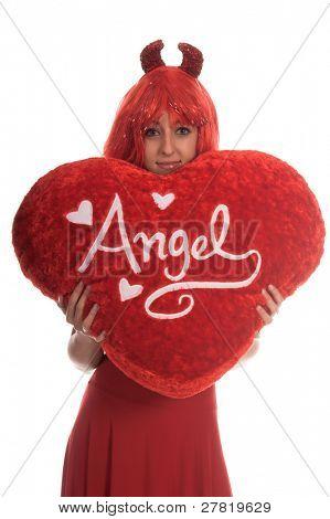 50% Angel, 50% Devil Valentine Girl