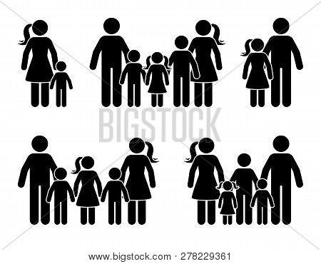 Stick Figure Big Family Icon