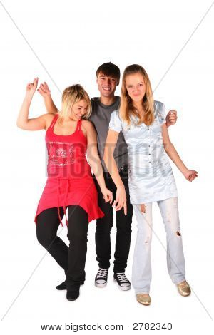 Boy And Two Girls Dancing