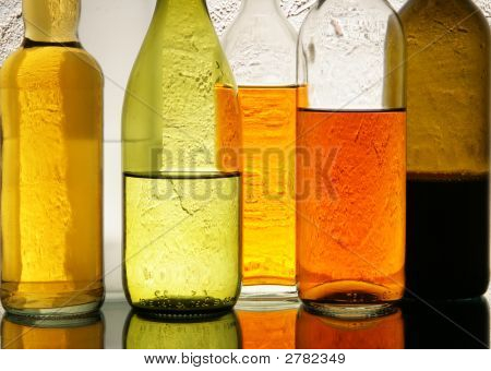 Colorful Bottles With Alcohol