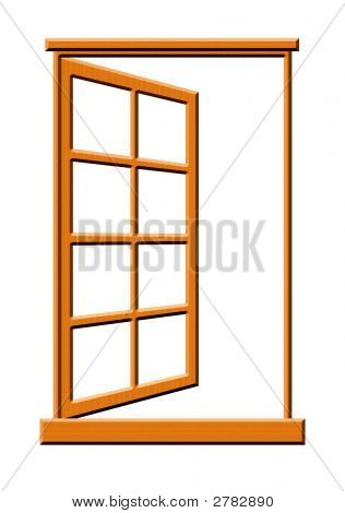 Open Wooden Window Illustration