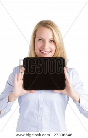 Happy Confident Woman Holding Her Touchpad