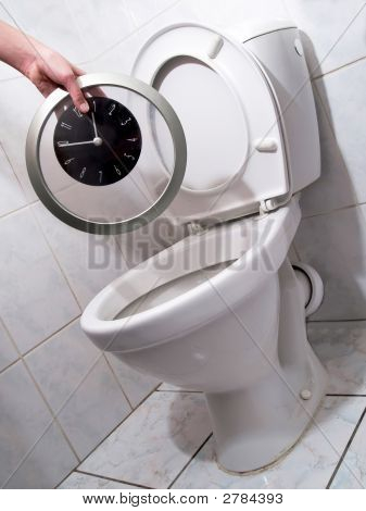 Clock In Toilet